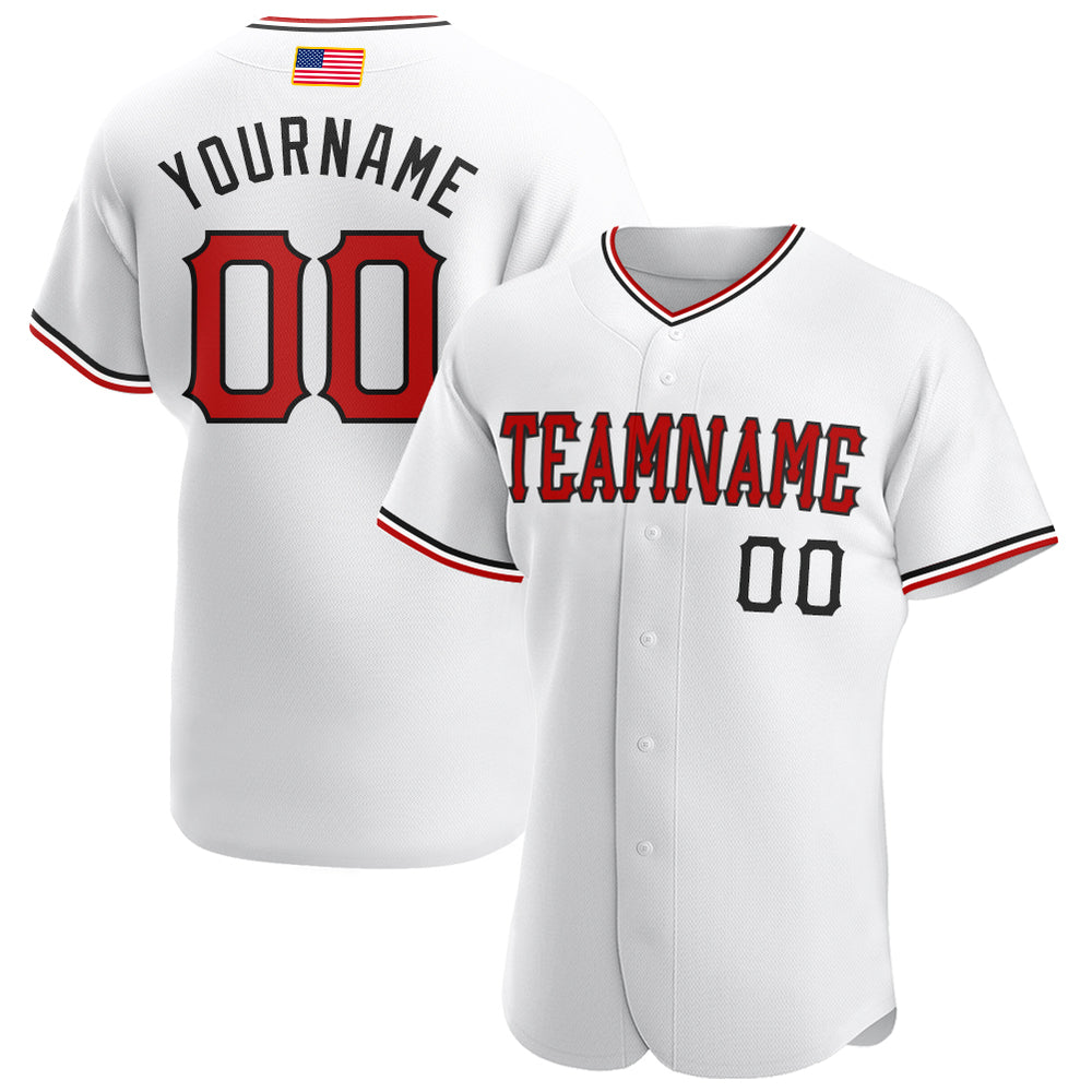 Custom White Red-Black Authentic American Flag Fashion Baseball Jersey