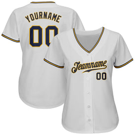 Custom White Navy-Gold Authentic Baseball Jersey