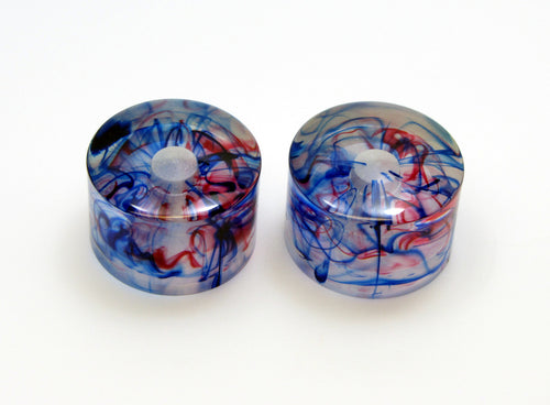 Haramis Musical Hardware Fat Knobs - Red and Blue swirl.  Set of 2