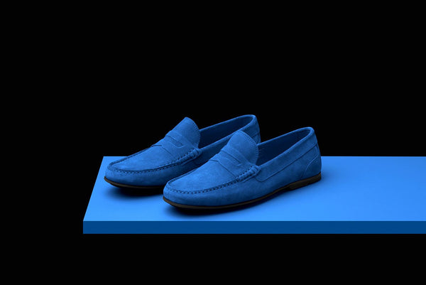 Mens Blue Suede Driving Loafers – Bold
