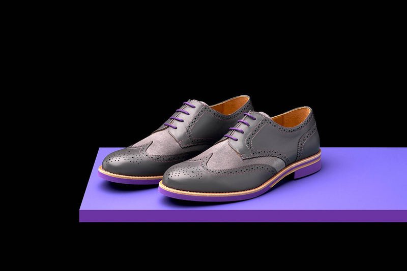 Mens Grey & Purple Leather Wingtip Dress Shoes