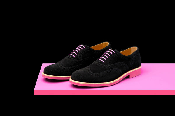 Mens Black & Pink Suede Wingtip Dress Shoes