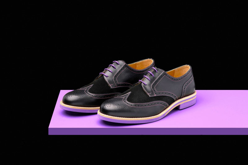 Mens Black & Purple Leather Wingtip Dress Shoes