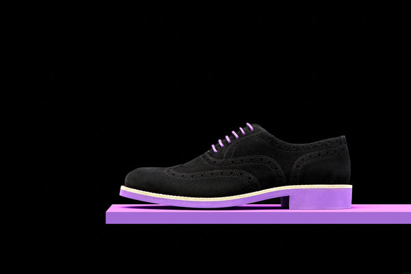 Mens Black & Purple Suede Wingtip Dress Shoes