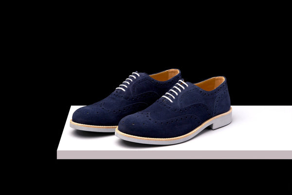Mens Blue & Grey Suede Wingtip Dress Shoes