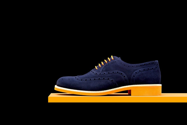Mens Blue & Orange Suede Wingtip Dress Shoes