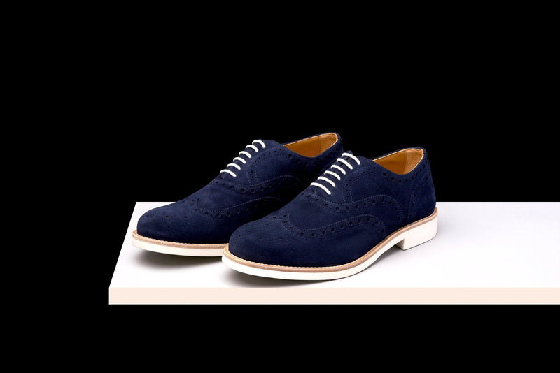 Mens Blue & White Suede Wingtip Dress Shoes