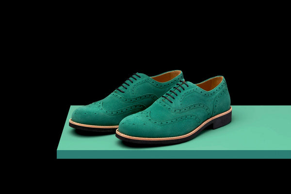 Mens Green & Black Suede Wingtip Dress Shoes