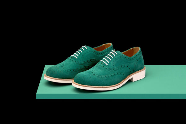 Mens Green & White Suede Wingtip Dress Shoes