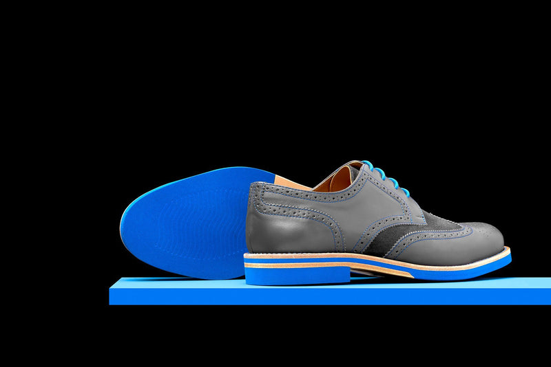 Mens Grey & Blue Leather Wingtip Dress Shoes