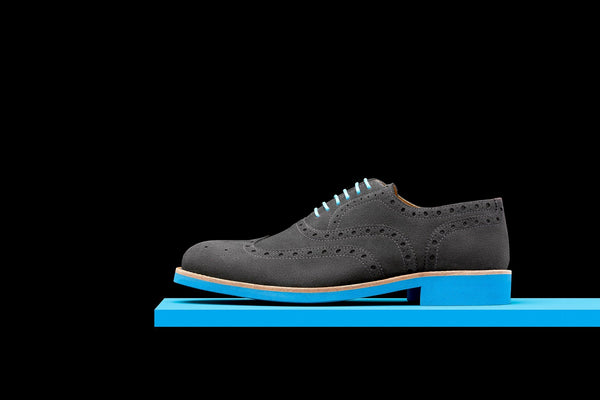 Mens Grey & Blue Suede Wingtip Dress Shoes