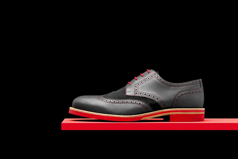 Mens Grey & Red Leather Wingtip Dress Shoes