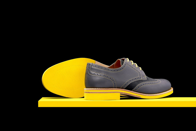 Mens Grey & Yellow Leather Wingtip Dress Shoes