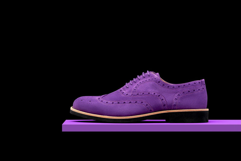 Mens Purple & Black Suede Wingtip Dress Shoes