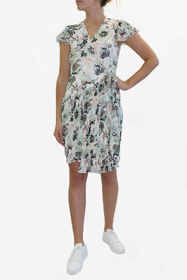 THEO PLEATED FLORAL DRESS