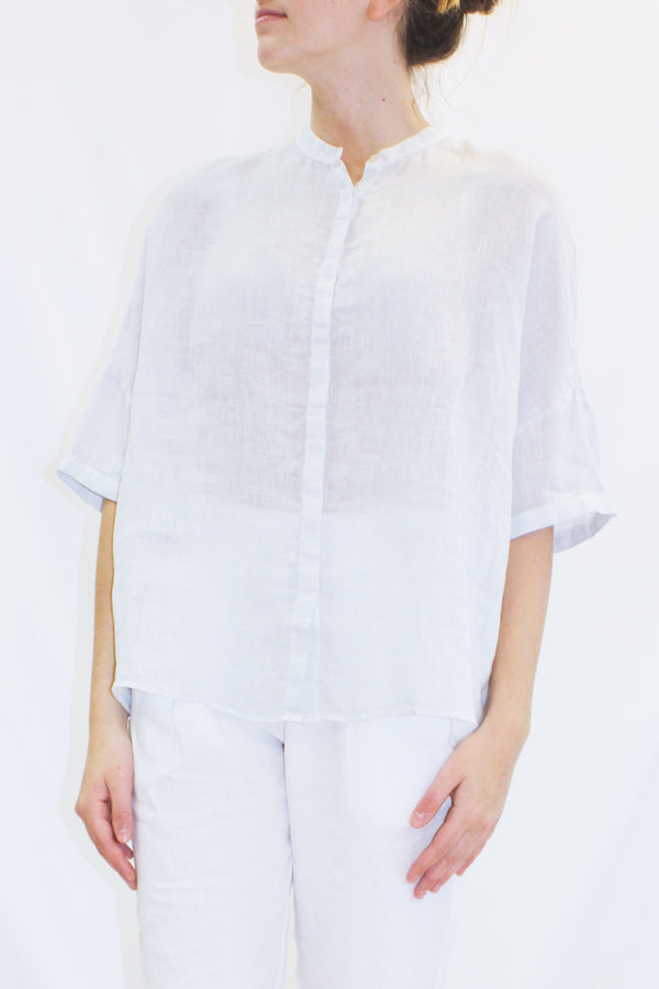 FLARED LINEN SHIRT DOVE