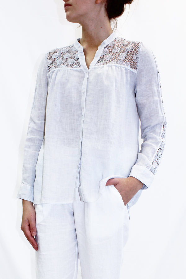 LINEN SHIRT WITH SEQUIN LACE YOKE DOVE
