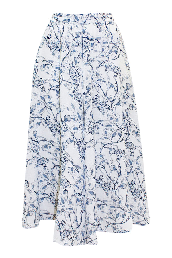 LINEN SWING SKIRT BLUE FLORAL