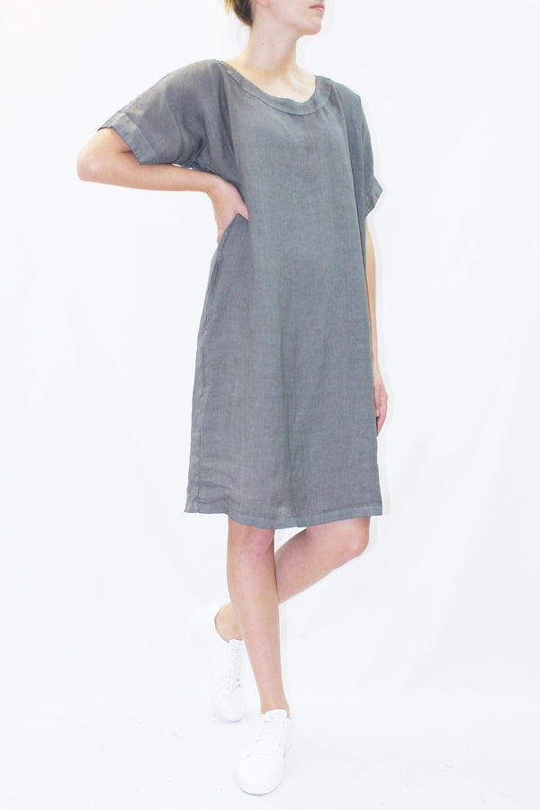 SHORT SLEEVE LINEN DRESS SLATE