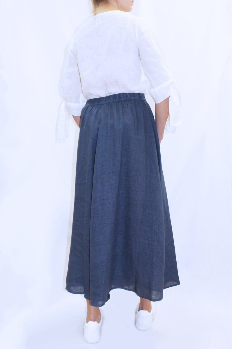 LINEN SWING SKIRT NAVY