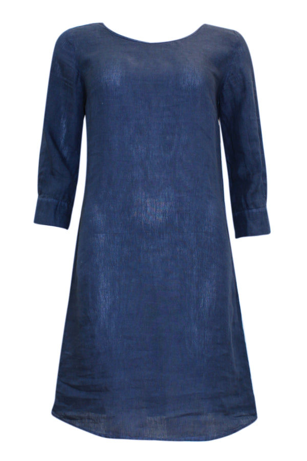 KNEE LENGTH LINEN SHIFT DRESS NAVY