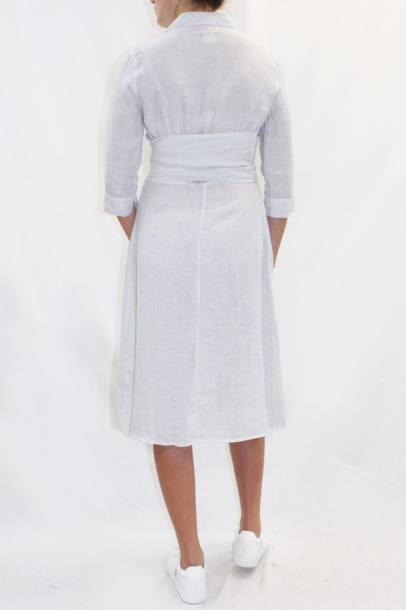 WRAP WAIST LINEN SHIRT DRESS PALE BLUE