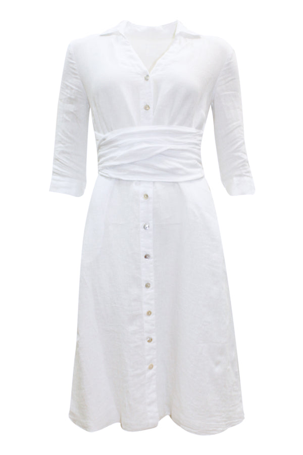WRAP WAIST LINEN SHIRT DRESS WHITE
