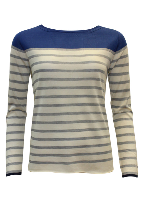 ROUND NECK STRIPE SILK KNIT BLUE GREY