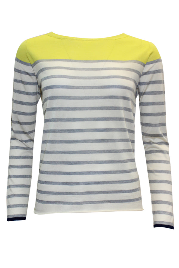 ROUND NECK STRIPE SILK KNIT YELLOW GREY