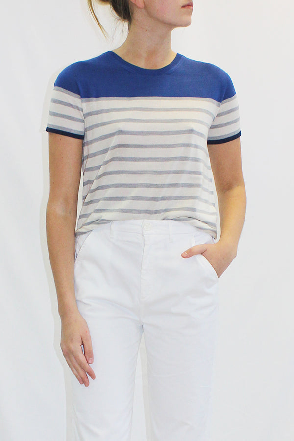 SHORT SLEEVE STRIPE TEE BLUE GREY