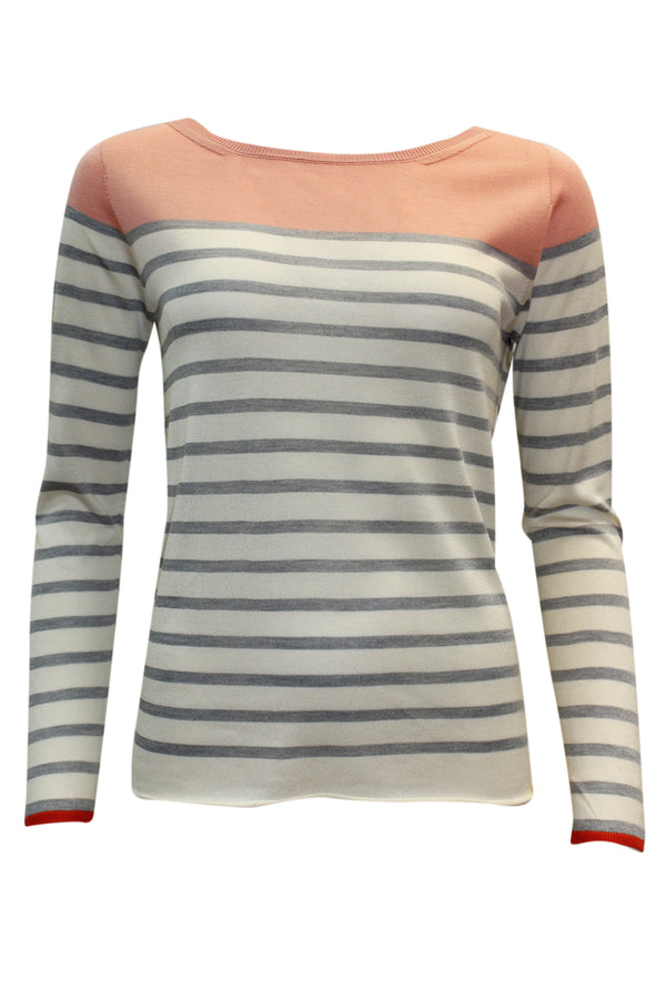 ROUND NECK STRIPE SILK KNIT BLUSH GREY