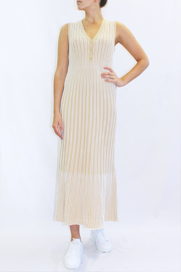 COTTON KNIT LONG DRESS BEIGE