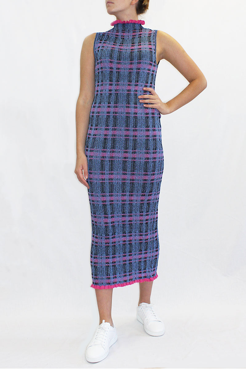 HIGH NECK LUREX GOWN BLUE CHECK