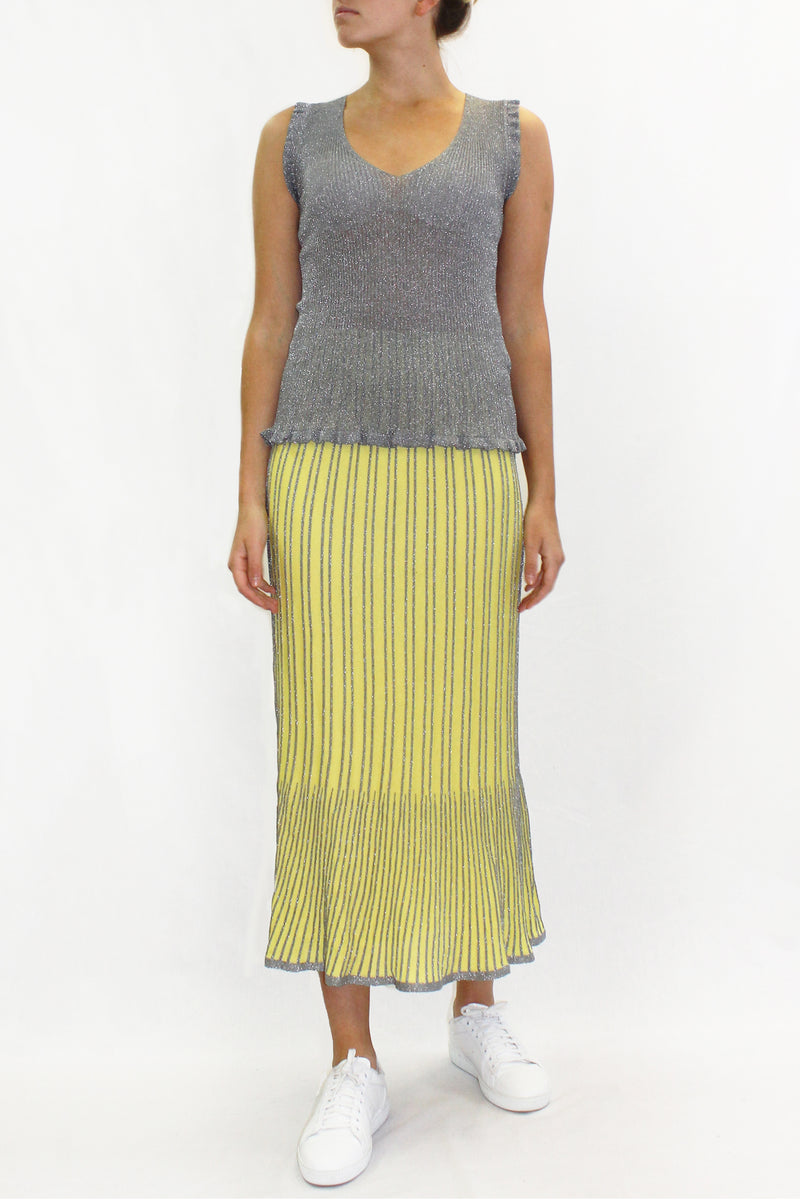 COTTON KNIT MIDI SKIRT YELLOW