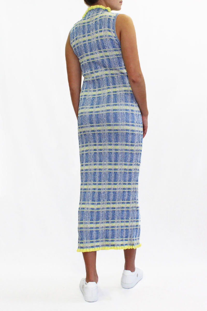 HIGH NECK LUREX GOWN YELLOW CHECK