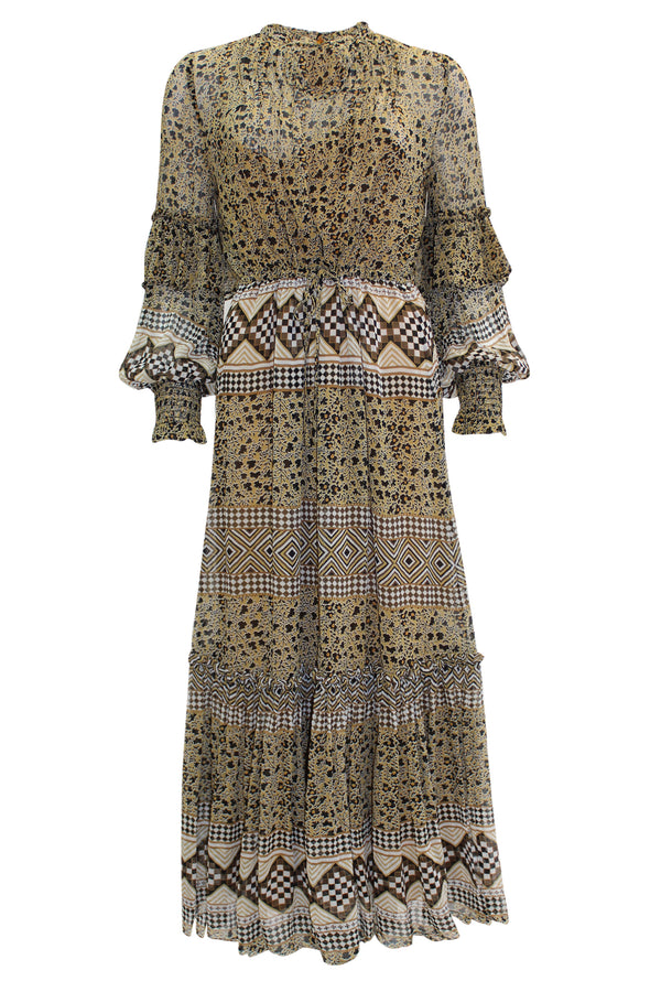 MITELLA TAN PRINT DRESS