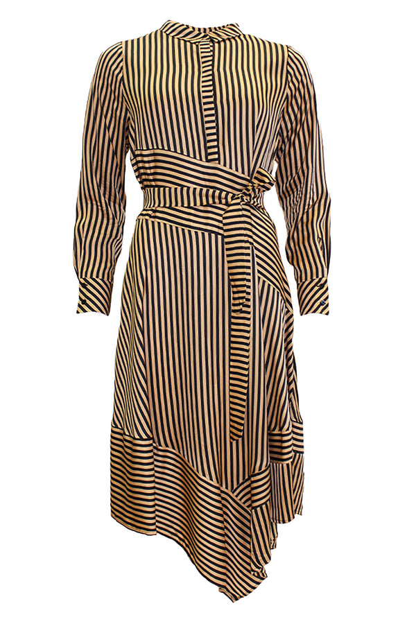 MANETTA STRIPE ASYMMETRIC DRESS