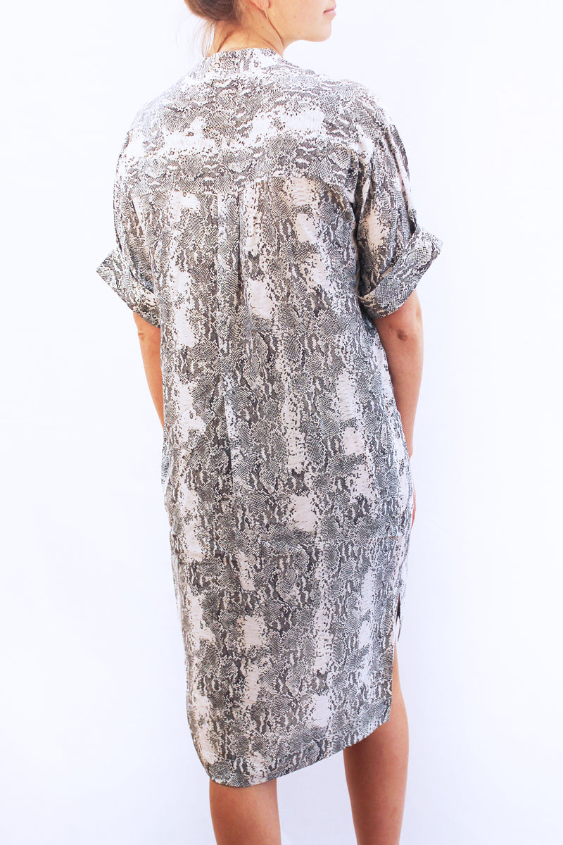 OAK SNAKE PRINT SILK DRESS