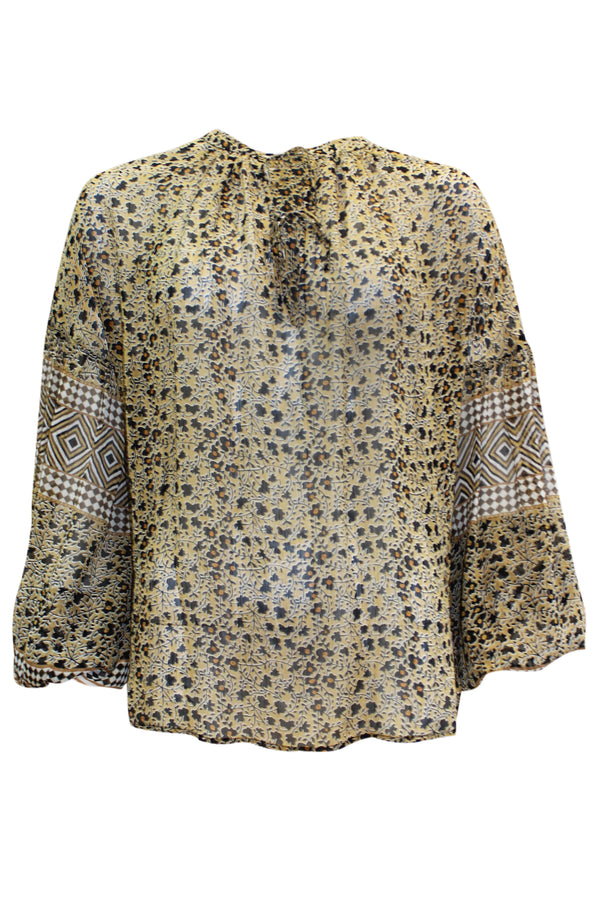 MISSION TAN PRINT BLOUSE