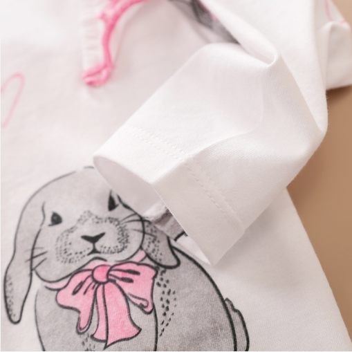 Baby rabbit pattern print jumpsuit