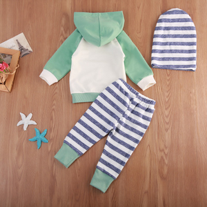 3-piece Cute Color Blocked Striped Hoodie, Tie-up Pants and Headband Set