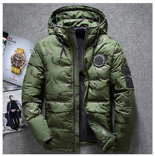 Winter men's camouflage hooded down jacket