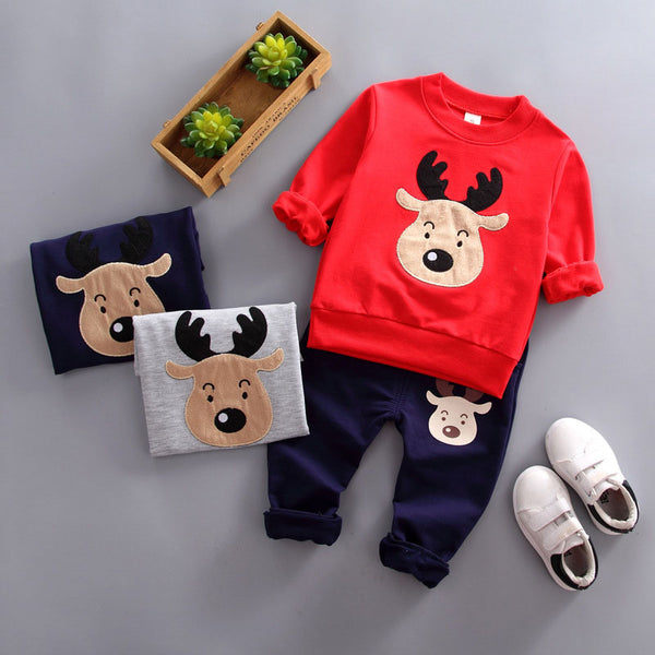 Elk cartoon printing sports two-piece