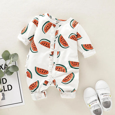 Baby Watermelon Print Long Sleeve Jumpsuit
