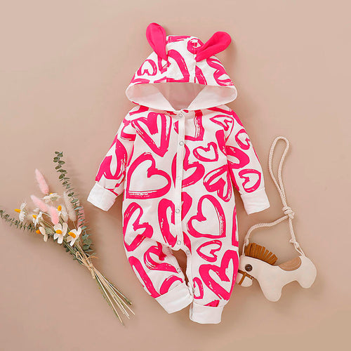 Heart Print Newborn Baby Hooded Jumpsuit