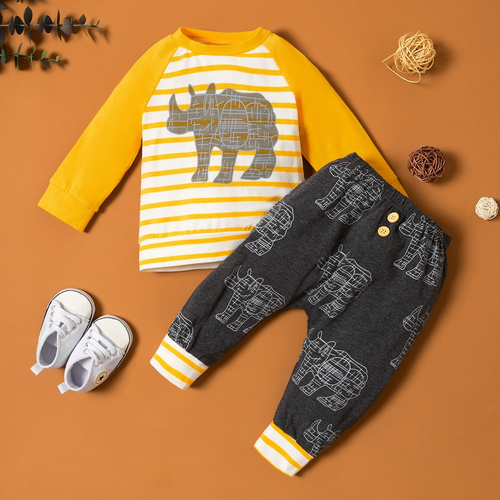 Baby  Animal Print Striped Pullover and Pants Set