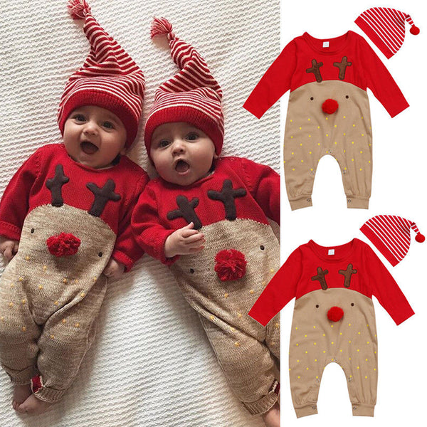 Newborn baby cartoon deer jumpsuit