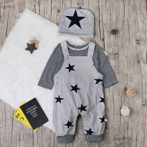 Baby boy star strap three-piece children's wear