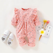 Load image into Gallery viewer, Floral Allover baby jumpsuit pattern with ruffle sleeve