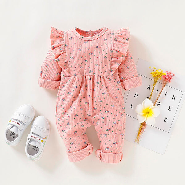 Baby  Ruffled Floral Allover Long-sleeve Jumpsuit